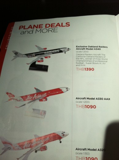 Spotted in the Air Asia catalog, on a flight from Bangkok to Yangon: get your very own Oakland Raiders Air Asia model plane. (No other NFL teams were offered.) Huh?!