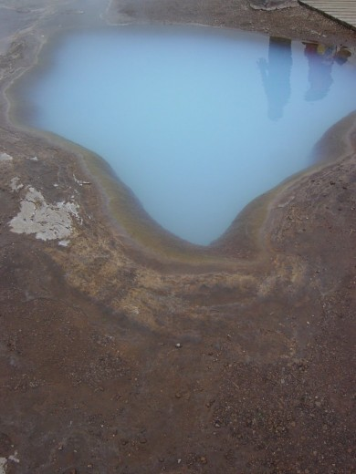 Bright blue hot springs in Iceland