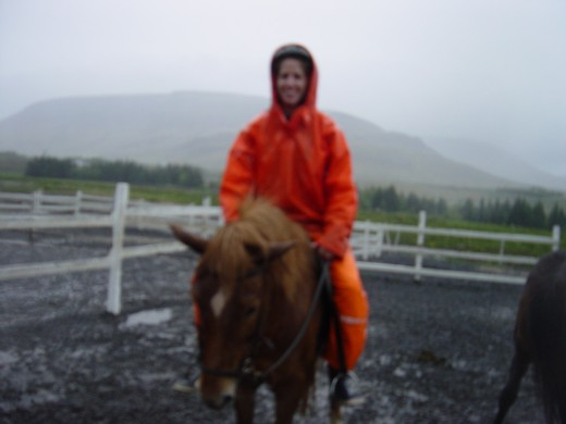 Robin riding an Icelandic pony