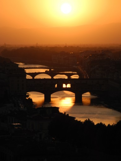 Sunset above the Arno River in Florence