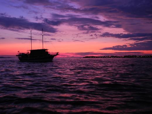 Sunset off the coast of Zadar