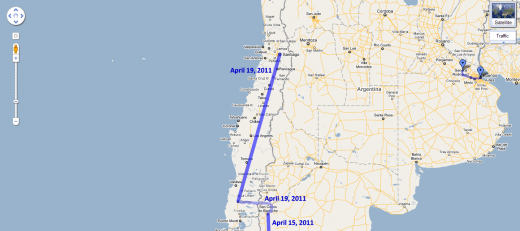 Route from Bariloche (Argentina) to Santiago, Chile