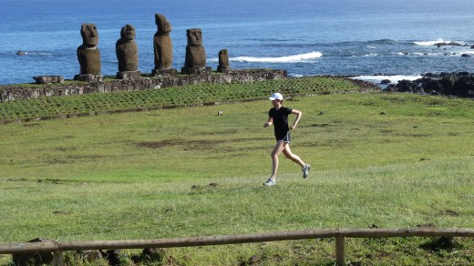 Robin running alongside some moai