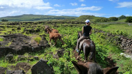 Horse ride on Easter Island
