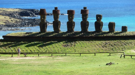 Robin and the Moai on Easter Island