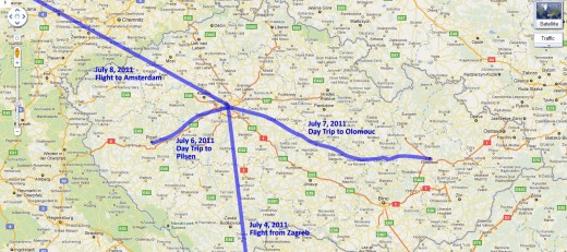 Our route through the Czech Republic
