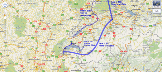Map of our voyage through Switzerland