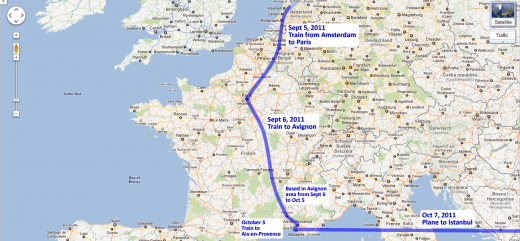 Our route through France