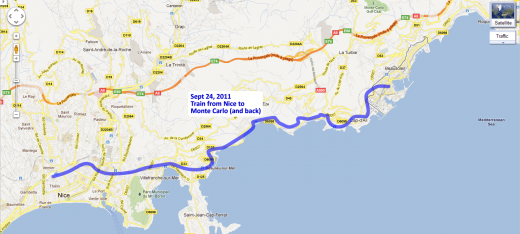 Our route to/from Monte Carlo