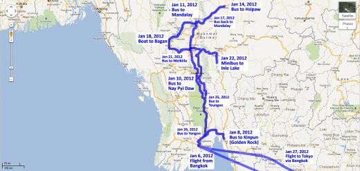 Our route through Burma