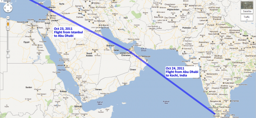 Our route through the UAE