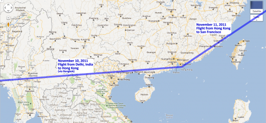 Our route to/from Hong Kong