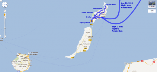 Our route around Lanzarote