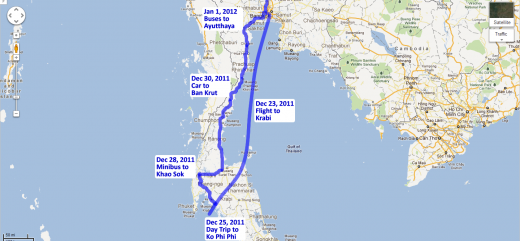 Our route through the southern parts of Thailand