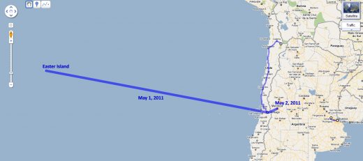 Route from Easter Island to Mendoza (Argentina)