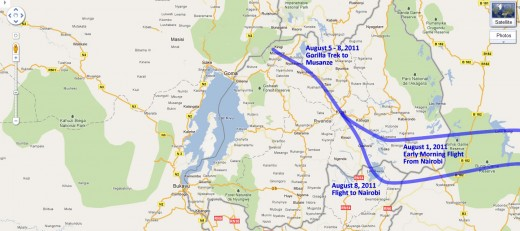 Our route through Rwanda