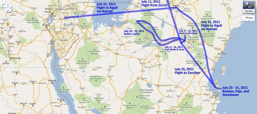 Our route through Tanzania