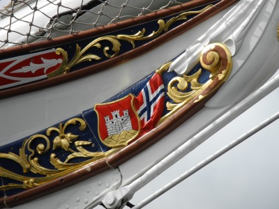Detail on a ship in Bergen's harbor.