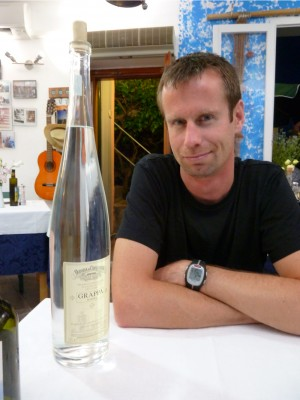 Pierre and the world's biggest bottle of grappa.