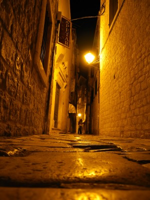 Street in Trogir at night. You may be surprised to learn that this picture was taken by Pierre, not a National Geographic photographer.