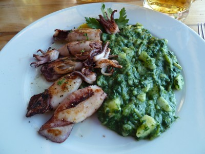 Delicious grilled squid, served beach-side in Brela.