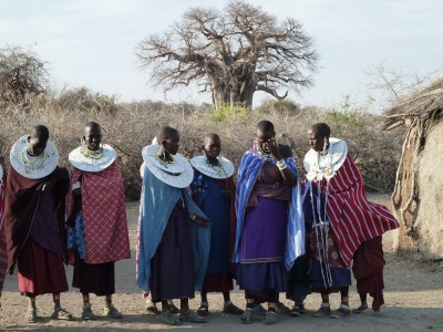 The Maasai welcome us to their village.