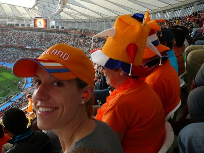 At the game. That lady next to me spoke to me in Dutch. Guess I looked the part, eh?