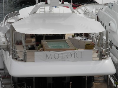 A boat for sale, with a jacuzzi on the third level. Barf.