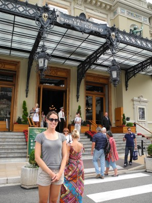 Trying to look angelic outside the entrance to the casino. The rejected baby is behind me to the right.
