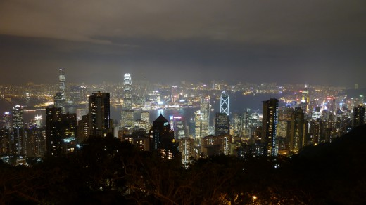 Hong Kong's flashy night skyline.