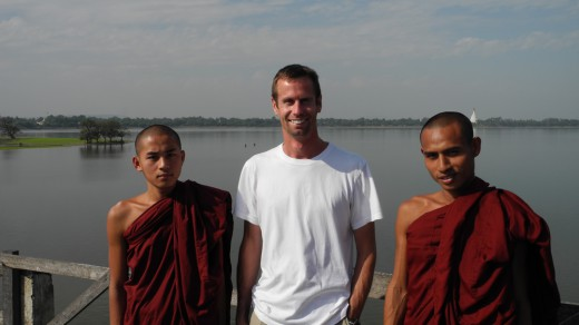 Pierre with our monk friends.