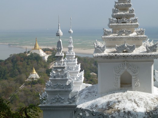 View from the top of Sagaing Hill, with the Ayeyarwady River below.