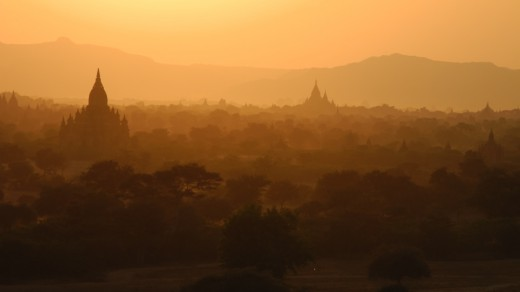 The sun begins to set over the plains of Bagan