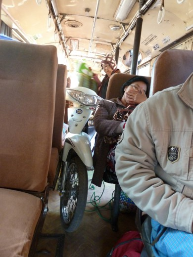 The motorbike in the bus