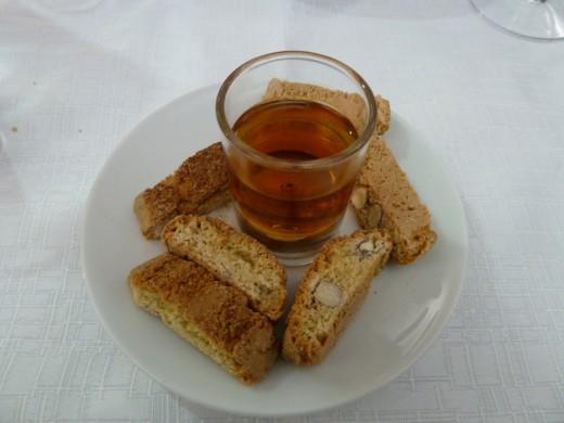 Crispy (meat-free) biscotti and sweet dessert wine in Cinque Terre.