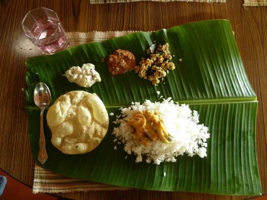 Fabulous veg lunch in Wayanad (Kerala).