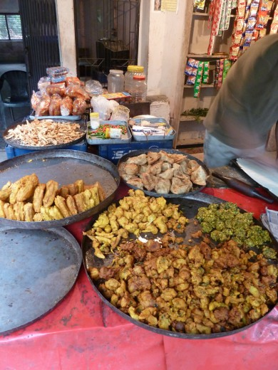 Delicious vegetarian eats on a street in Rishikesh.