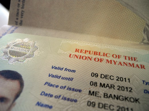 Myanmar (Burma) visa, obtained in Bangkok because we had no idea we'd be going there until right before we went.