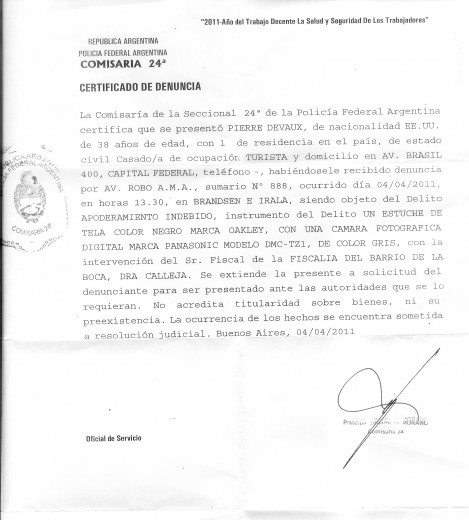 Police Report from Buenos Aires